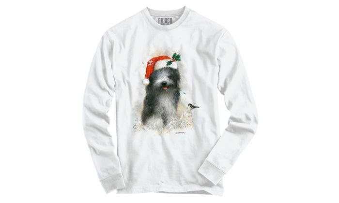 Shaggy Christmas Puppy Santa Hat Snow Long Sleeve T-Shirt