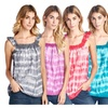 Ocean Pacific Women's Tank Top Tie Dye Tunic Sleeveless Square Neck