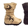 Strappy & Slouchy Mid-Calf Suede Flat Boots For Girls or Toddlers