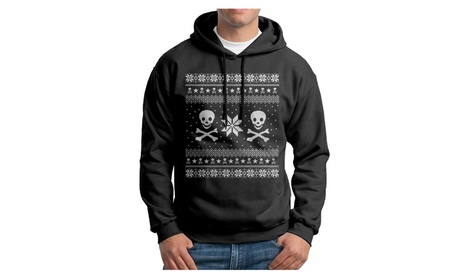 Skull & Crossbones Ugly Christmas Sweater Black Hooded Sweatshirt 3ccf2718-dce3-4927-9bac-f429c4e36941