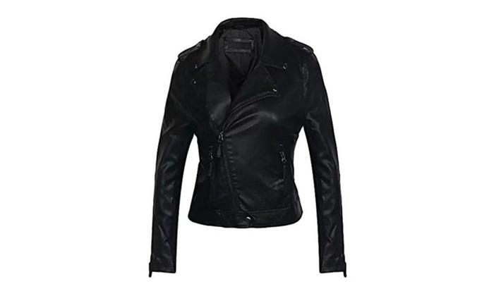 Biwinky Women's Slim Fit PU Leather Moto Biker Short Coat Jacket