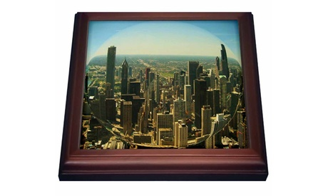 Trivet with Tile Chicago Skyline fisheye photo