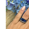 4.0ctw Black Rhodium ptd 3-Stone Blue Spinel Stone & CZ Engagement Ring Set