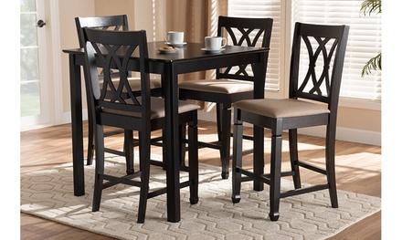 Reneau Fabric Upholstered Brown 5-Piece Wood Pub Set