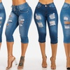 High Waisted Ripped Denim Women's Capris. Plus Sizes Available.