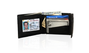 AFONiE Genuine Leather Bifold Men Safe Wallet with Velcro Closure