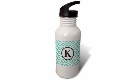 Straw Water Bottle Mint green pattern monogram initial K photo