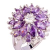 Purple Crystal Silver Handmade Women's Ring