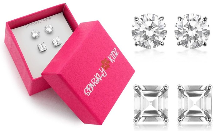 a157b874c Sterling Silver Round and Princess Cut Cubic Zirconia Stud Earring Set
