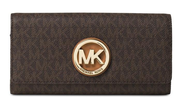 5858191b78f2 Michael Kors Fulton Flap Signature Logo Continental Carryall Wallet ...