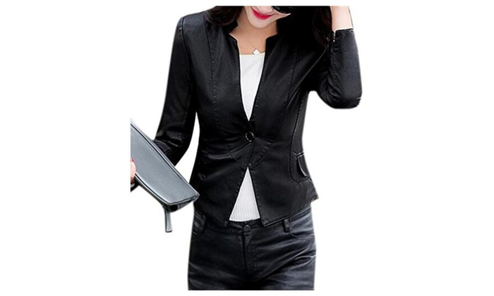 Womens PU Leather Fit Slim One Button Short Biker Jacket Blazer Coat