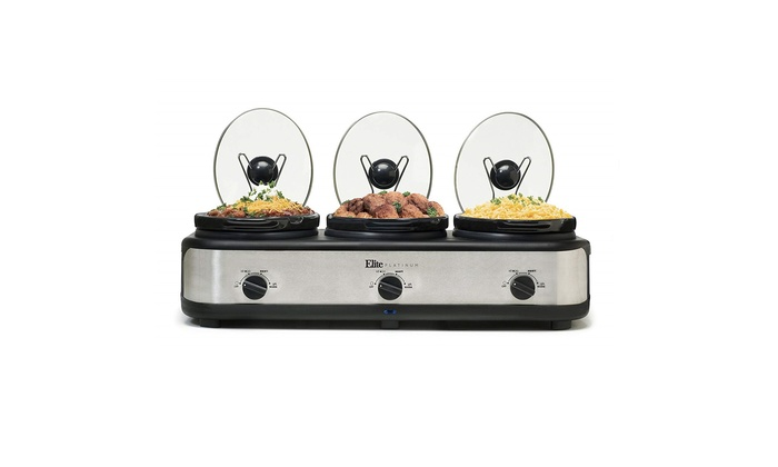 Elite Platinum EWMST-325 Triple Slow Cooker Buffet Server, Stainless Steel