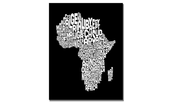 Up to 72 off on michael tompsett africa font groupon goods groupon goods michael tompsett africa font world map canvas art gumiabroncs Images