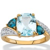 4.06 TCW Genuine Blue Topaz and CZ Accent Ring
