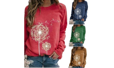 Women's Dandelion Print Round Neck Long Sleeves Loose-Fitting Pullover Tops