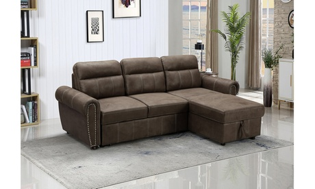 Schio Reversible Sleeper Sectional Sofa Chaise in Saddle Brown Microfiber