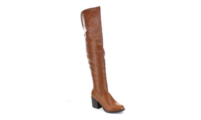 Beston BA29 Women Chunky Heel Plain Slouch Over The Knee Boots