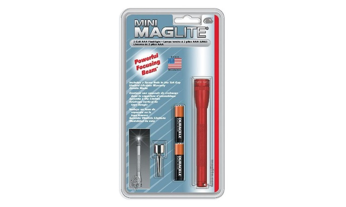 Maglite M3a036 Mini Flashlight AAA Blister Pack, Red
