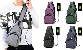 Men Women Messenger Shoulder Bag Sling Chest Pack Crossbody Bag With USB Port
