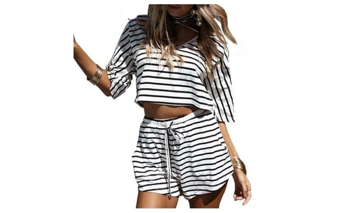 Striped 2 Two Piece Set Womens Crop Top And Shorts Set ... 9be209ff79
