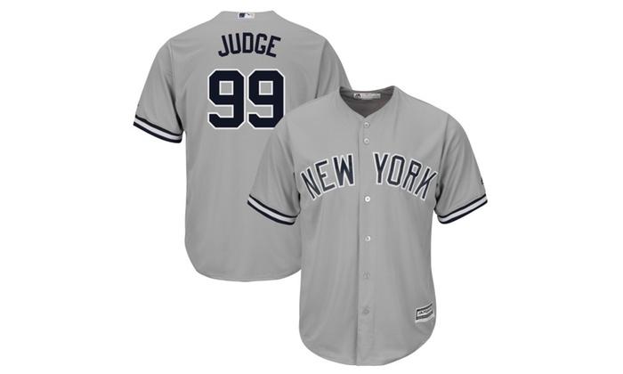buy popular 42e3f 5f09a Mens New York Yankees Aaron Judge Gray Road Flex Base ...