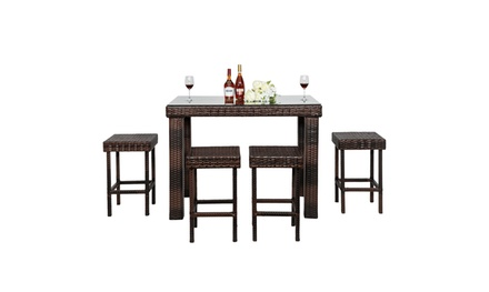 5 Piece Outdoor Patio Wicker Bar Set Outside Rattan Table Chair Stool Set