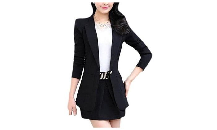 Womens OL Plus Size Long Sleeve Lapel Midi Blazer Jacket Casual Suit Coat Outfit