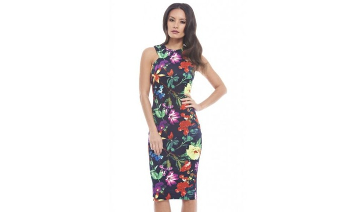 AX Paris Floral Cut Out Neck Midi Dress