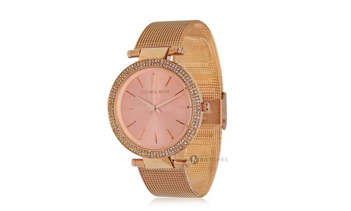 54a77491cea0 Michael Kors Womens Rose Gold Darci Mesh Strap Glitz 39mm Watch MK3369