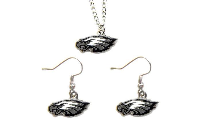 Philadelphia Eagles Necklace and Dangle Earring Charm Set NFL