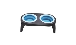 Pet Feeder Non-Skid Silicone Bowls Dog Feeding Station Double Stand