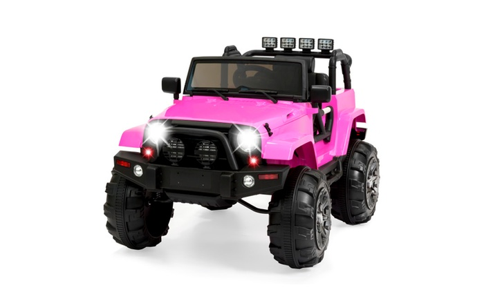 New 2 Seater Off Road Truck 12v Ride On Car Kids Electric W RC Pink