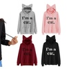 Women Letter Print with Pocket Cat Ear Hoodie Fashion Hooded Pullover