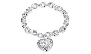 Clean Silver Plated  Filigree Heart Design Bracelet