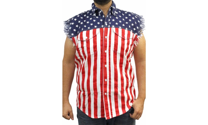 5b500427139000 Men s USA Flag Sleeveless Denim Shirt Biker Vest American Pride