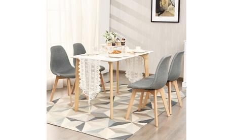 Costway Set of 4 Dining Chair Fabric Cushion Seat Modern Mid Century W/Wood Legs