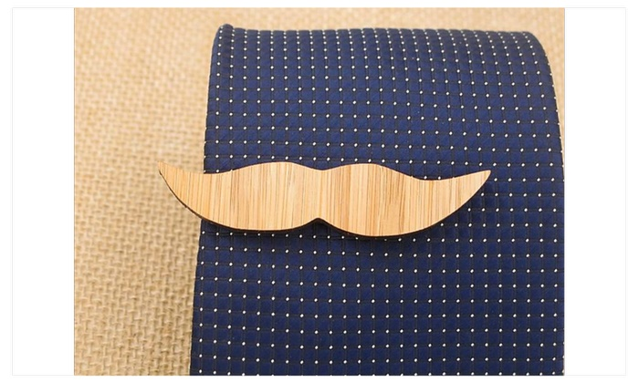 Fashion Tie Bar Clip Wooden Anchor Mustache. - one size