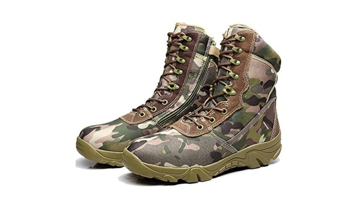BE DREAMER Men's Delta Side Zipper 8 Inches Camouflage Military Boots