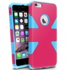 Insten Pink/Sky Blue Dynamic Slim Hybrid Hard Soft For iPhone 6 Plus