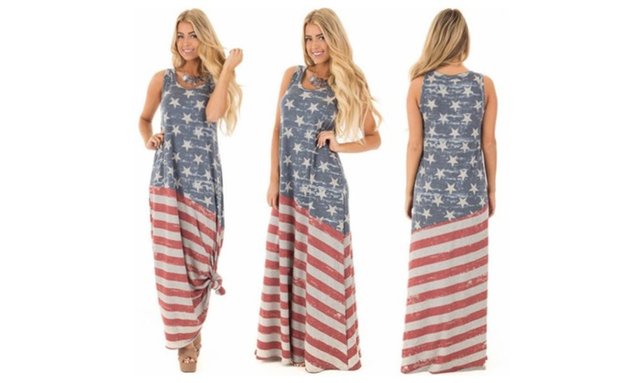 Women's Sleeveless USA Flag Tank Dress Maxi Dress Ankle Length