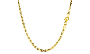 14K Gold 3mm Diamond Cut Rope Chain Necklace