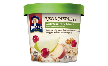 Quaker Real Medleys Oatmeal+, Apple Walnut, Instant Oatmeal Pack of 12 5c892421-cc44-4185-a803-ed87f73cb3a3