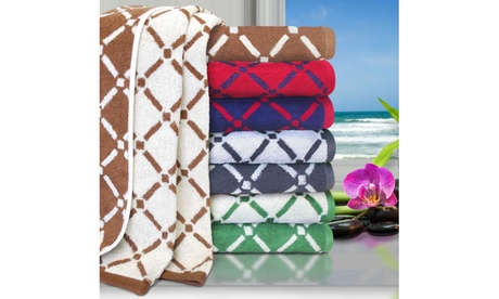 Superior Cotton Diamond Pattern 2-Piece Bath Towel Set b91a73fb-2c94-432c-b9c2-9858e32abd3c