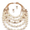 Simulated Pearl Chain Statement Pendant Necklaces