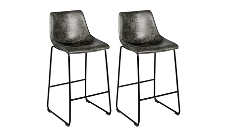 Costway Set of 2 Bar Stool Faux Suede Upholstered Dining Chair w/Metal Legs