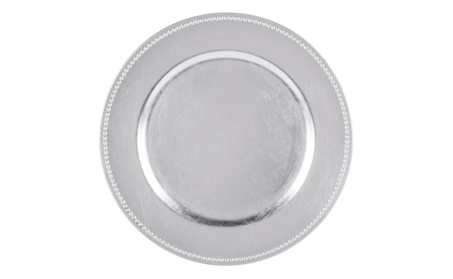 Round Charger Beaded Dinner Plates, Silver 13 inch, Set of 6 7e774865-bf69-49a1-9996-1329fc5ec32e