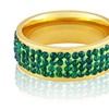 Gold Plated Stainless Steel Green Crystal Ring