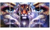 Tiger with Woman Eyes Abstract Animal Metal Wall Art 60x28 5 Panels
