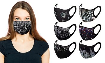 Celebrity Holiday Bling Rhinestone Face Mask (6-Pack)