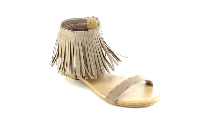 Beston AB47 Women's Fringe Side Zipper Flat Heel Sandals